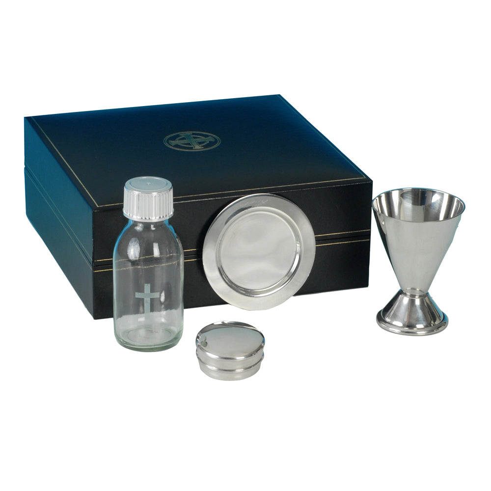 4 Piece Pewter Communion Set
