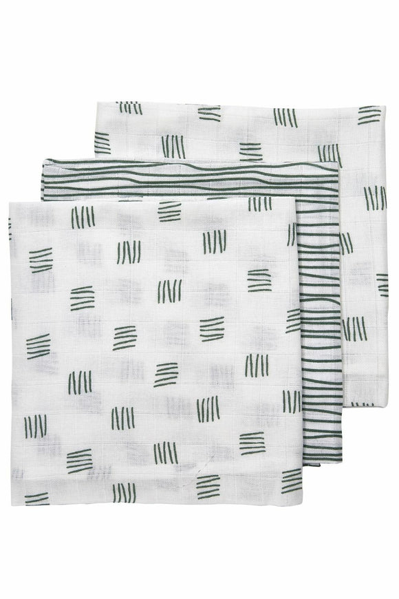 luiers 3-pack block-stripe Forest Green 70x70cm