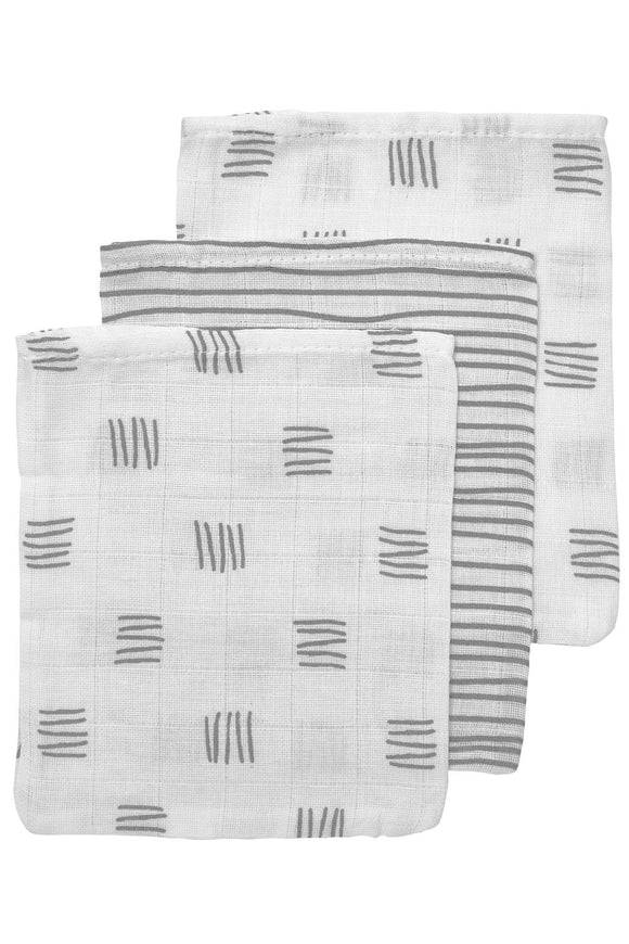 washandjes 3-pack block-stripe grijs