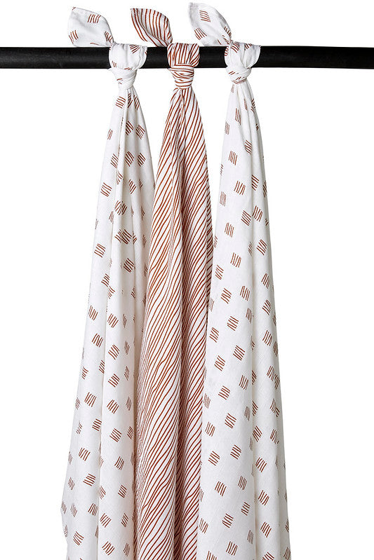 swaddles 3-pack block- stripe camel 120x120cm