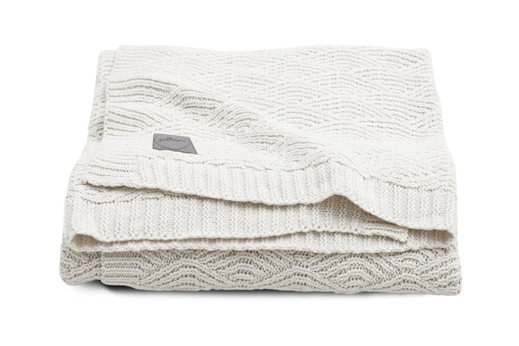 Deken River knit cream white 75x100cm