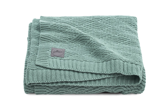 Deken River knit ash green 100x150cm