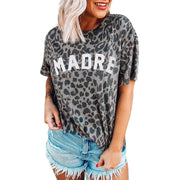 Leopard print round neck short sleeve t-shirt