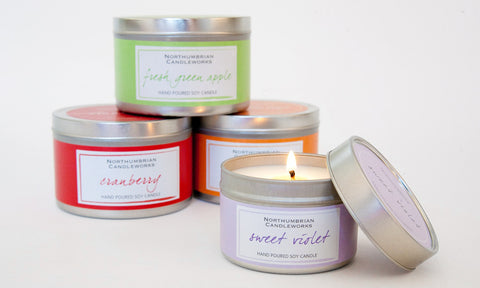 soy wax candles in tins