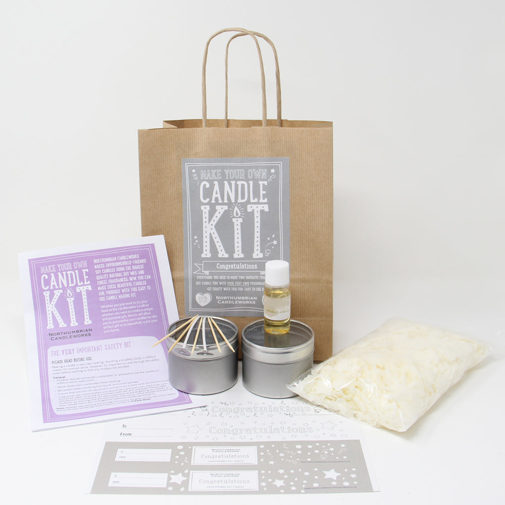 Northumbrian Candleworks - Congratulations White Gardenia - Candle Making Kits