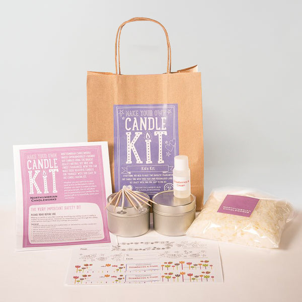 Northumbrian Candleworks - Kid's Kit Strawberries & Cream - Candle Making Kits
