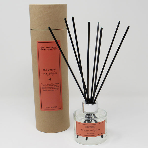 Northumbrian Candleworks - Red Poppy & Ginger - Reed Diffuser with Tube
