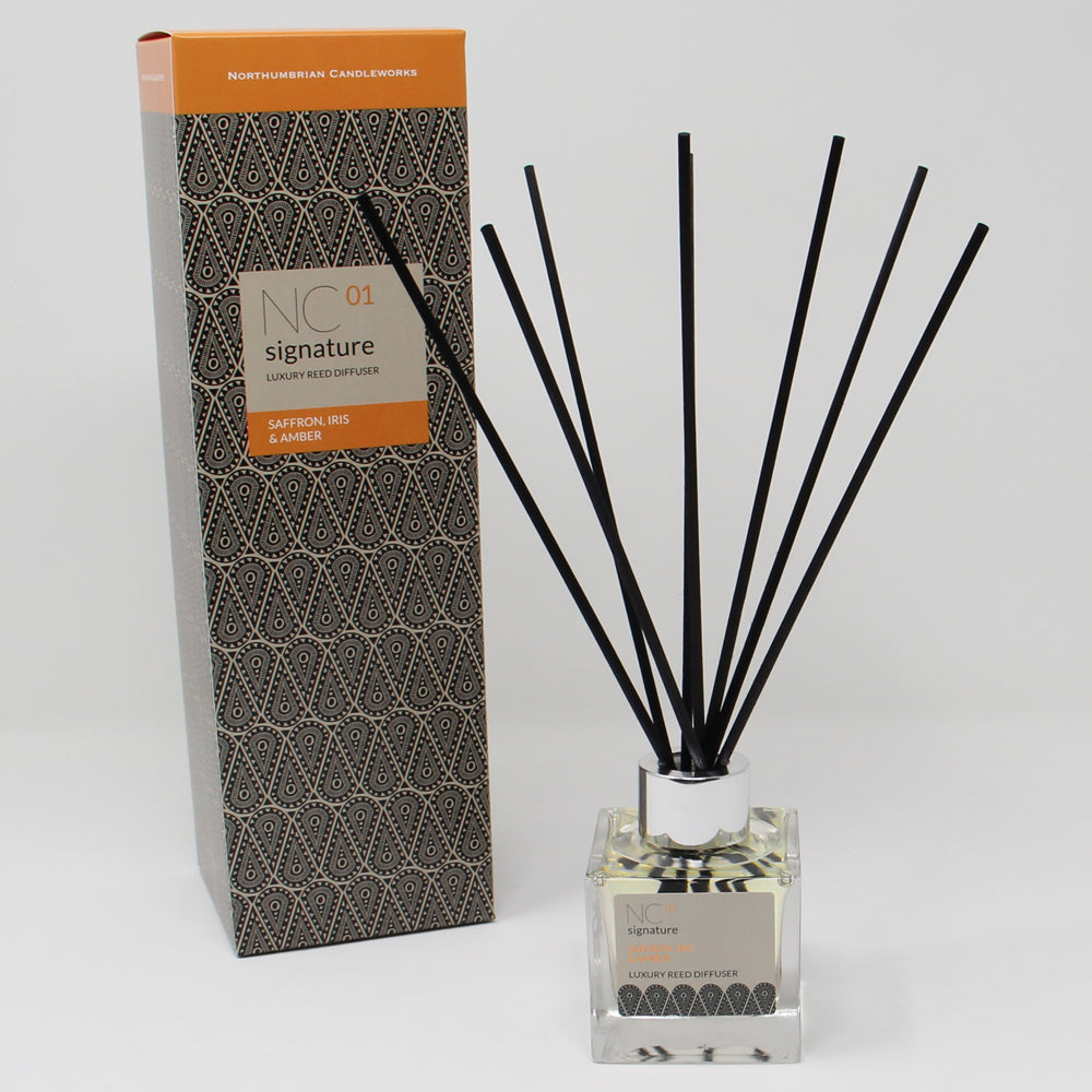 Northumbrian Candleworks - Saffron Iris & Amber - Reed Diffuser with Box
