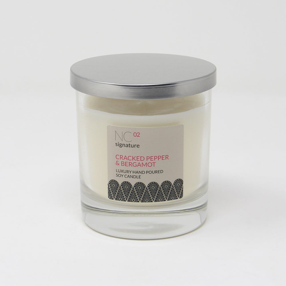 Northumbrian Candleworks - Cracked Pepper & Bergamot - Candle in a Glass Jar with Lid