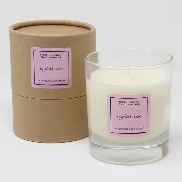 Northumbrian Candleworks - English Rose - Candle in a Glass Jar with Tube