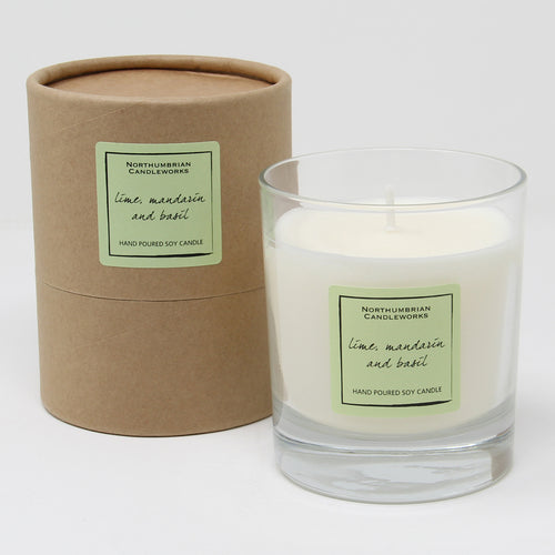 Northumbrian Candleworks - Lime Mandarin & Basil - Candle in a Glass Jar with Tube