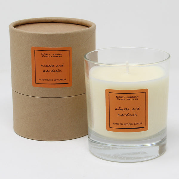 Northumbrian Candleworks - Mimosa & Mandarin - Candle in a Glass Jar with Tube