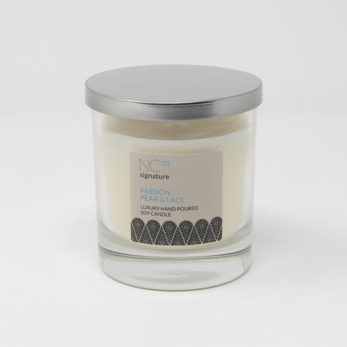 Northumbrian Candleworks - Passion Pear & Lace - Candle in a Glass Jar with Lid