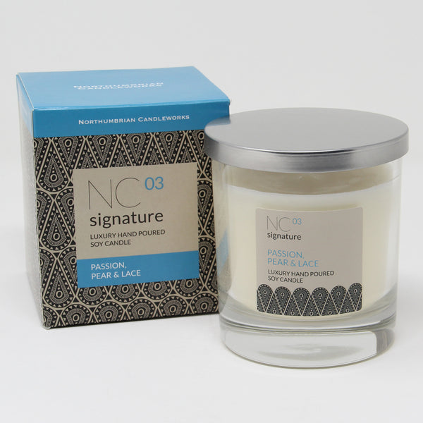 Northumbrian Candleworks - Passion Pear & Lace - Candle in a Glass Jar with Lid & Box
