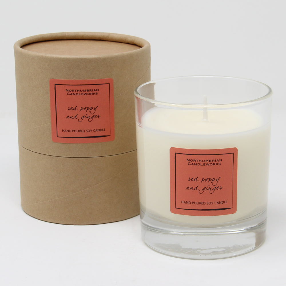 Northumbrian Candleworks - Red Poppy & Ginger - Candle in a Glass Jar with Tube