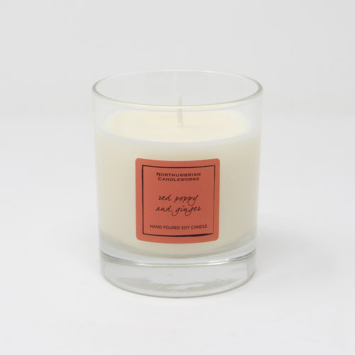 Northumbrian Candleworks - Red Poppy & Ginger - Candle in a Glass Jar