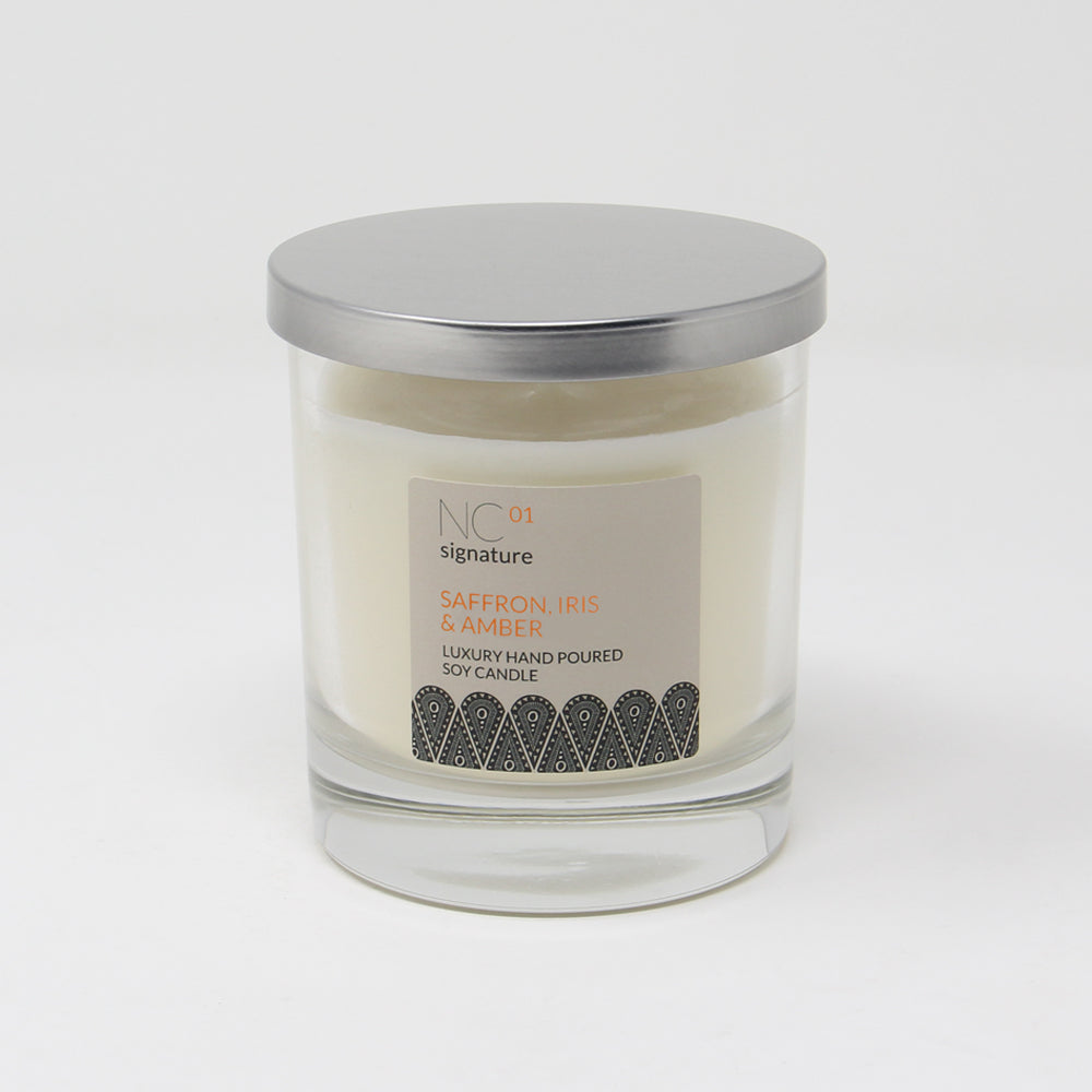 Northumbrian Candleworks - Saffron Iris & Amber - Candle in a Glass Jar with Lid