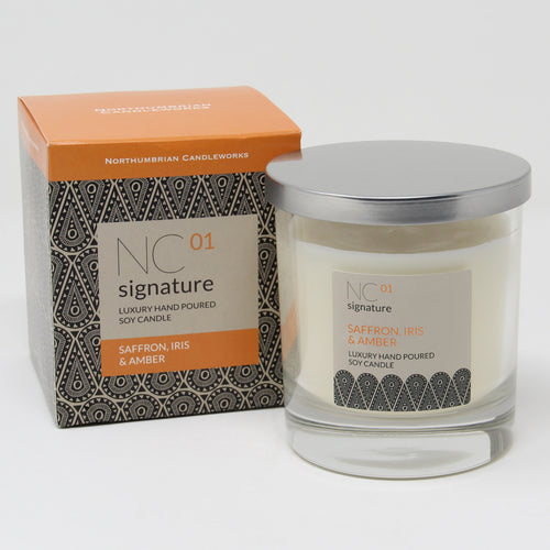 Northumbrian Candleworks - Saffron Iris & Amber - Candle in a Glass Jar with Lid & Box