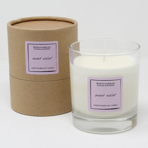 Northumbrian Candleworks - Sweet Violet - Candle in a Glass Jar with Tube