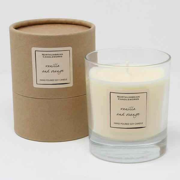 Northumbrian Candleworks - Vanilla & Orange - Candle in a Glass Jar with Tube