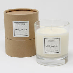 soy wax candle in a glass jar