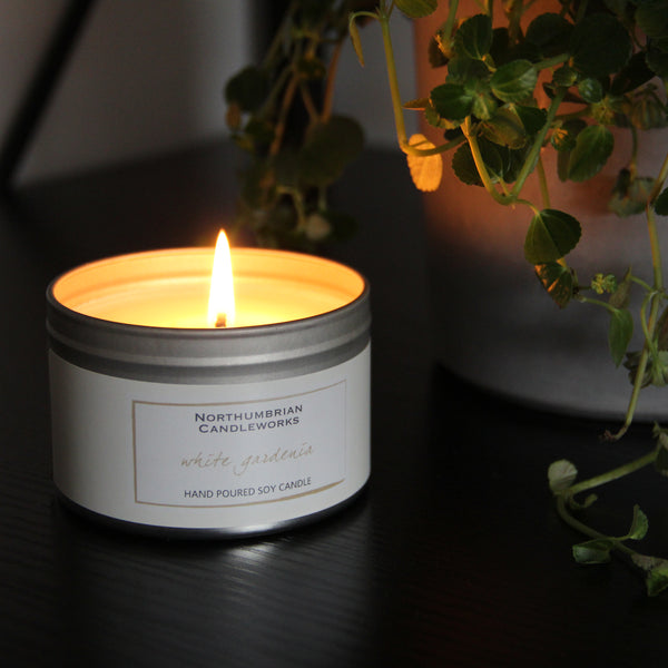 Soy Candles for Home - White Gardenia Candle in a Tin by Northumbrian Candleworks