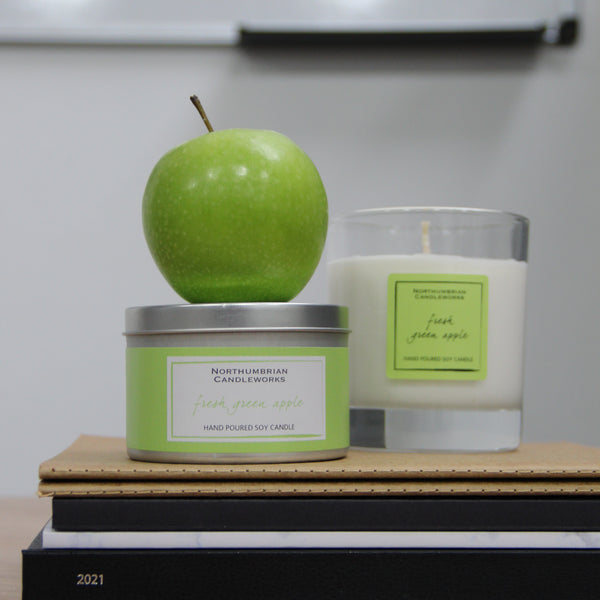 Soy Candles for Home - Fresh Green Apple Candles by Northumbrian Candleworks