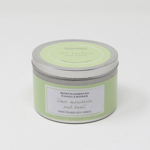 Northumbrian Candleworks - Lime Mandarin & Basil - Candle in a Tin with Lid