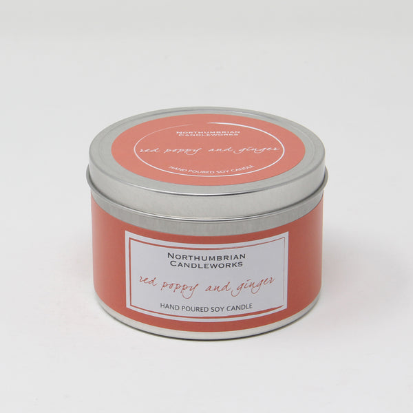 Northumbrian Candleworks - Red Poppy & Ginger - Candle in a Tin with Lid