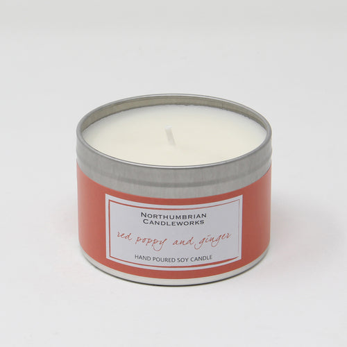 Northumbrian Candleworks - Red Poppy & Ginger - Candle in a Tin