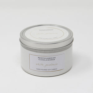 Northumbrian Candleworks - White Gardenia - Candle in a Tin with Lid
