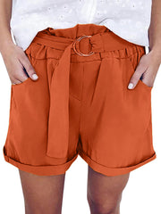 Solid Casual Belt Stretch Casual High Waist Wide Leg Shorts