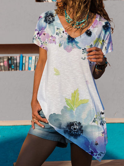 2021 Summer Casual Asymmetric Printing Short Sleeve Casual Shirts & Tops