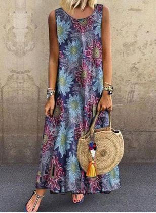 Printed Boho Crew Neck Dresses