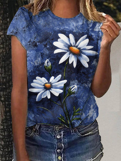 Crew Neck Short Sleeve Floral-Print Casual Shirts & Tops