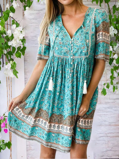 Boho V Neck Short Sleeve Printed Dresses