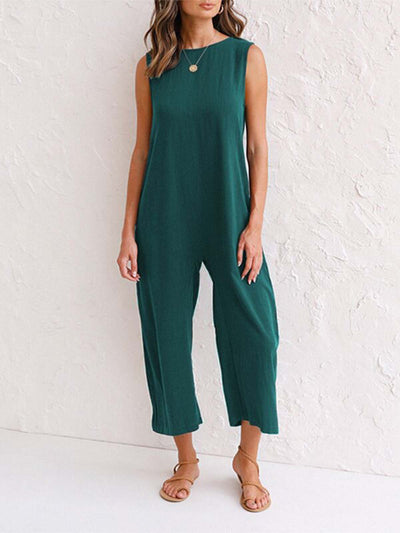 Sleeveless Cotton-Blend One-Pieces