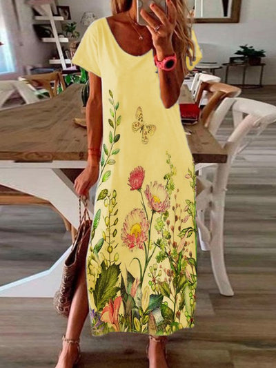 Casual Short Sleeve Scoop Neckline Floral Dresses