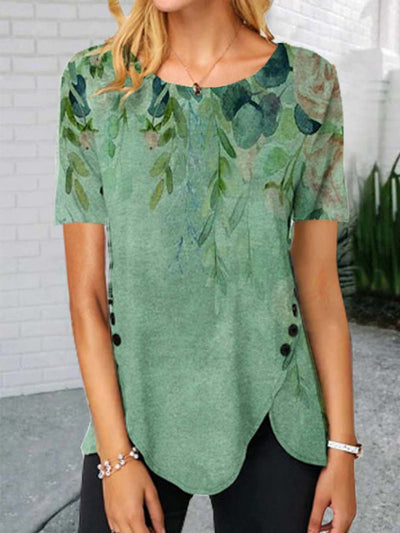Floral  Short Sleeve  Printed Cotton-blend  Crew Neck  Vintage  Summer  Green Top
