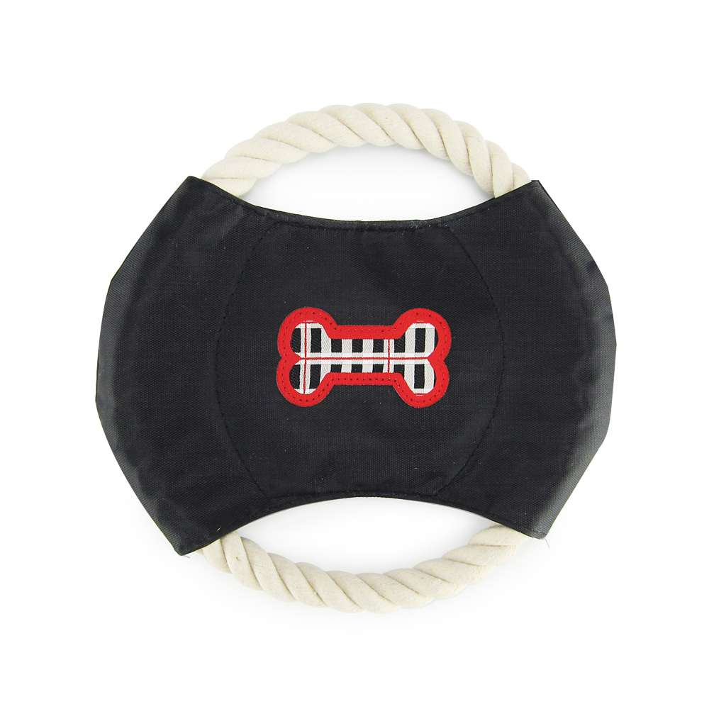 Black & White Plaid - Rope Disc Toy