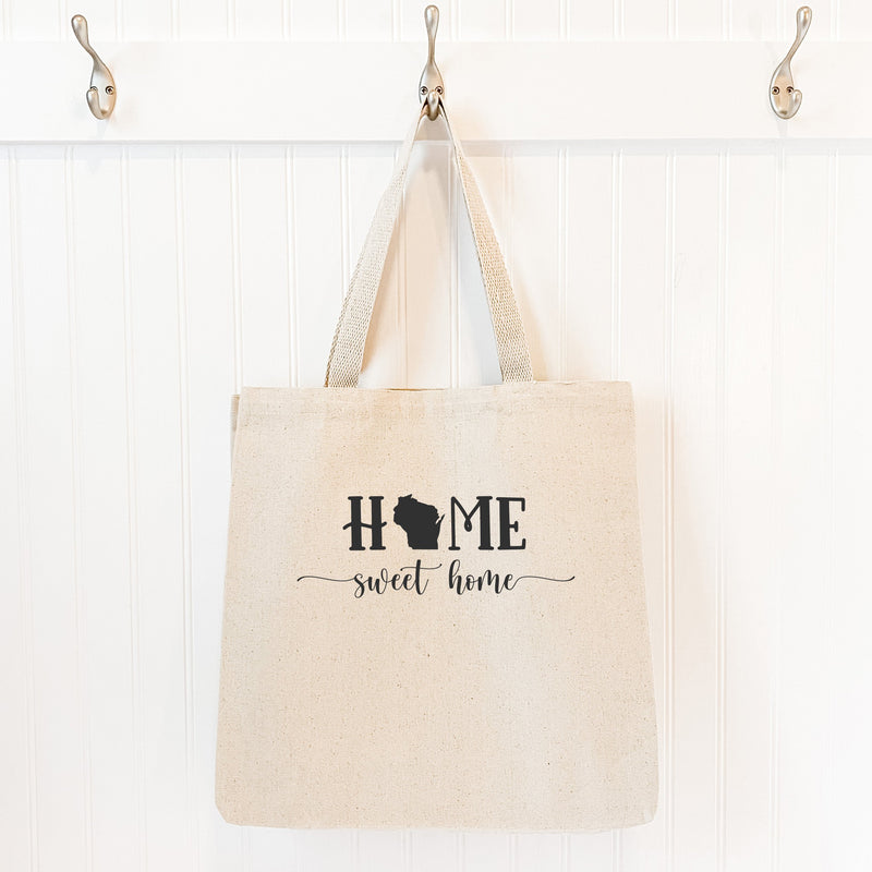 Home Sweet Home with State - Canvas Tote Bag