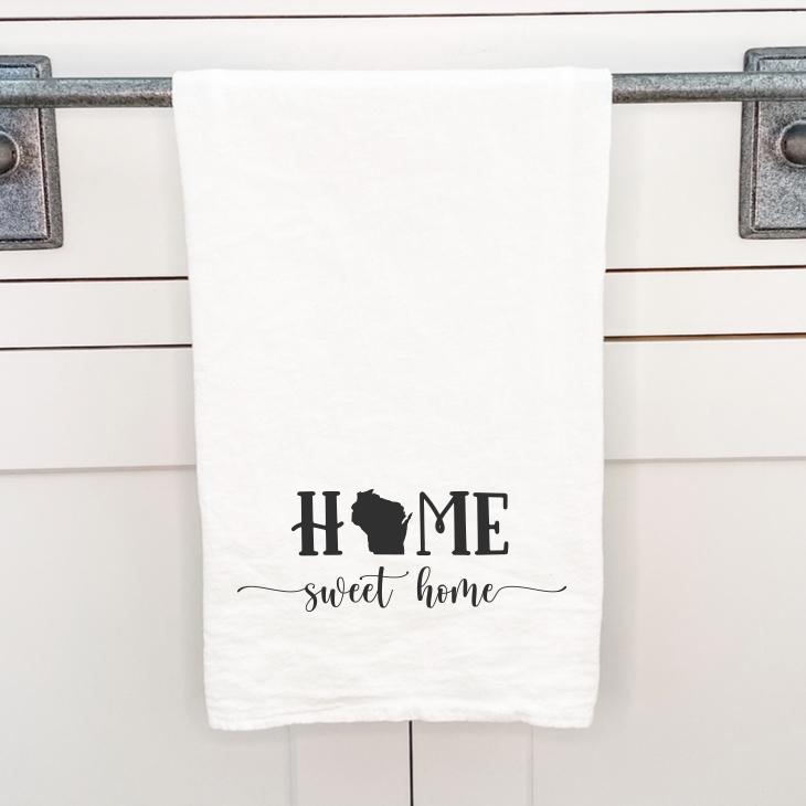 Home Sweet Home with State - Cotton Tea Towel