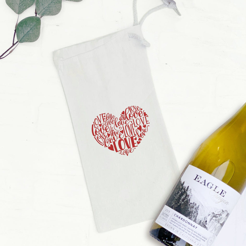 Love Heart Red - Wine Bag Gift Tote