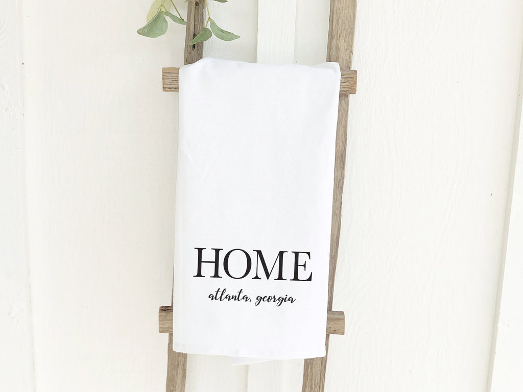 Home with City and State - Cotton Tea Towel