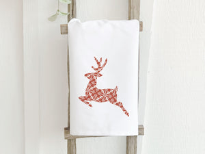 Red Holiday Deer - Cotton Tea Towel