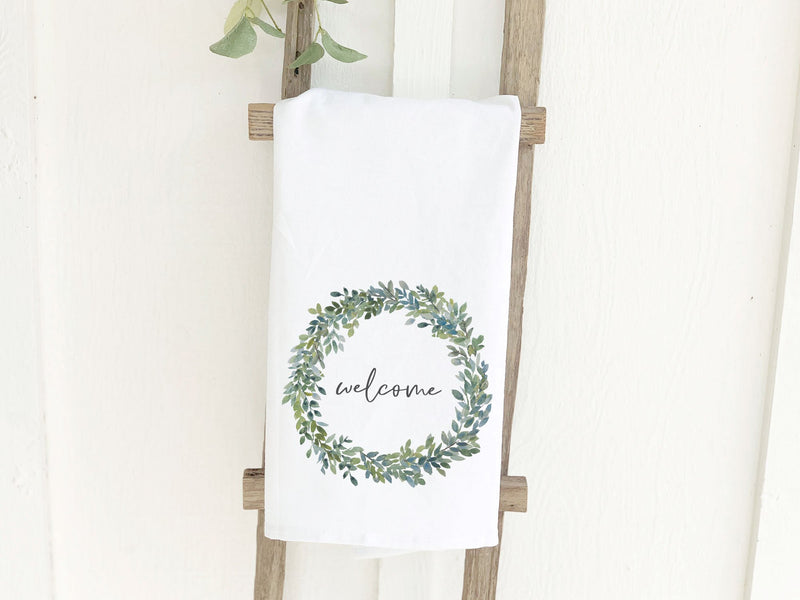 Welcome Watercolor Boxwood Wreath - Cotton Tea Towel