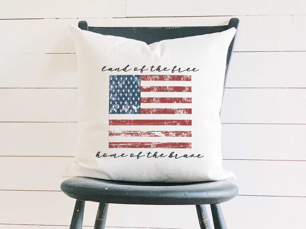 American Flag - Cotton Canvas Pillow