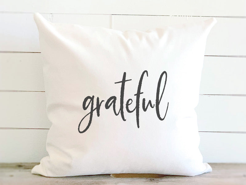 Grateful - Cotton Canvas Pillow