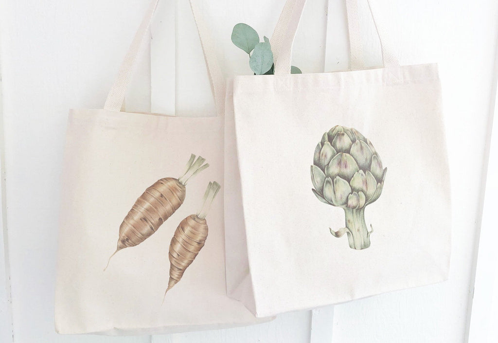 Set of Canvas Market Tote Bags With Vintage Vegetable Illustrations, Foodie Gifts for Men, reusable grocery bag, Christmas gifts, shop local