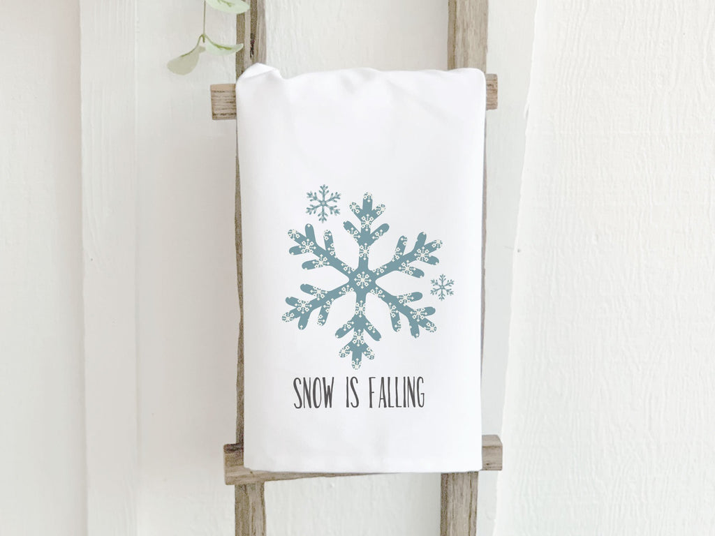 Snowflake - Snow is Falling - Cotton Tea Towel